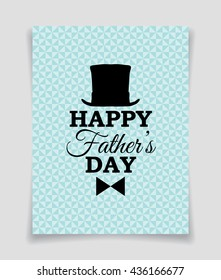 Happy Father's Day vector banner with top hat and bow tie on triangle background.