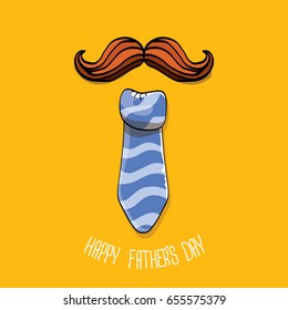 happy fathers day vector cartoon background with color tie, moustache and greeting text. fathers day vector label isolated on orange background