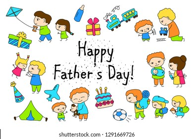 Happy Father's Day vector clipart with child drawing of family scenes. Happy Father Day stickers. Kid and father outlined clipart. Black line cartoon characters. Traditional family childish doodles