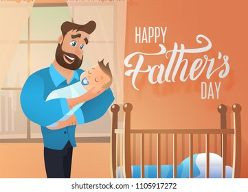 Happy Fathers Day Vector Concept or Greeting Card with Smiling Man Cartoon Character Holding Sleeping Baby on Hands Near Infant Bed in Sunny Room. Gentle Daddy Hugging Napping Newborn Son illustration