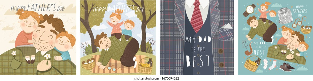 Happy Father's day Vector cute illustration of son and daughter hug daddy; father plays with kids on picnic; celebration concept of men suit; my dad is the best. Vector cute illustration for card