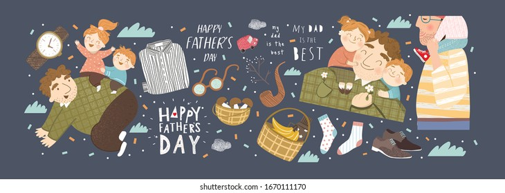 Happy Father`s day! Vector cute illustration of father plays with kids, children hug daddy, quote my dad is the best; shirt, socks and gifts isolated objects. Drawings for card, poster, postcard