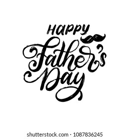 Happy Father's Day, vector hand lettering. Calligraphy illustration for greeting card, festival poster etc.