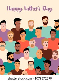 Happy Fathers Day. Vector illustration with men faces. Design element for card, poster, banner, flyer and other use.