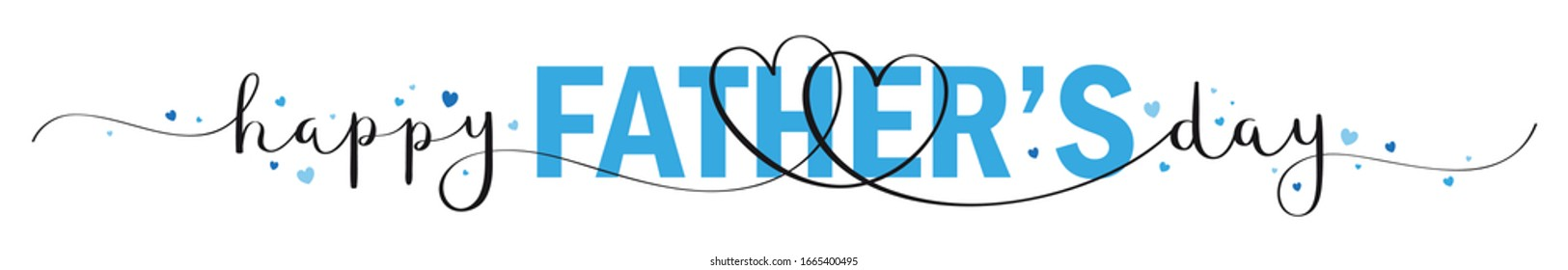 HAPPY FATHER'S DAY vector mixed typography banner with brush calligraphy and blue hearts