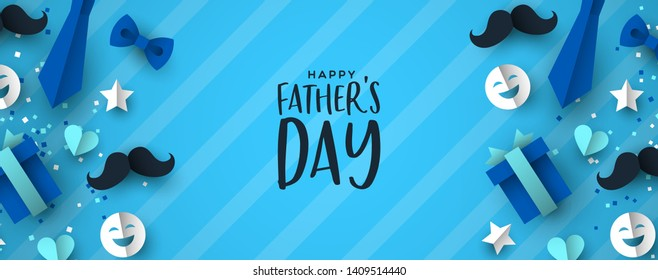 Happy Father's Day web banner for special dad holiday. 3D paper cut icons of tie, mustache, gift and more on blue color background.