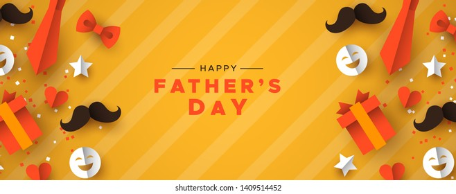 Happy Father's Day web banner for special dad holiday. 3D paper cut icons of tie, mustache, gift and more on orange color background.