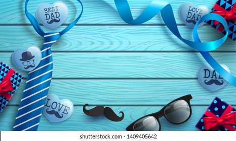 Happy Father's Day wood table background with necktie,glasses and gift box on wood table.Promotion and shopping template for Father's Day.Vector illustration EPS10