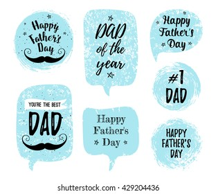 Happy Father's Day, You're the Best DAD, DAD of the year, #1 DAD greeting cards, fashion posters set. Vector quote with speech bubble background. Fathers day typography poster with mustache, stars.