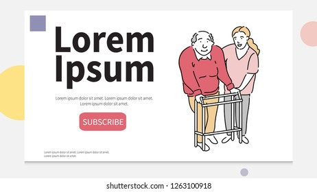 Happy female caretaker helping old man in using walker at nursing home. Line art characters design illustration. People characters flat design. nursing home vector concept.