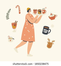 Happy Female Character Carry Tray with Hot Drink for Enjoying Christmas Holidays. Wintertime Season Spare Time, Winter Vacation, Woman with Cocoa, Tea and Coffee Treat Cups. Linear Vector Illustration