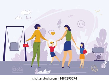 Happy Female Couple with Children on Playground Flat Cartoon Vector Illustration. Lesbian Spouses Walking with Kids. Non-traditional Family. LGBT. Women Warents with Son and Daughter.