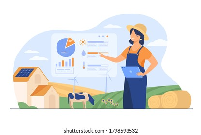 Happy female farmer working on farm to feed population flat vector illustration. Cartoon farm with automation technology. Smart farming and implementation concept