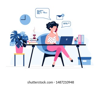 Happy female office worker. Successful businesswoman uses laptop, speaks on the phone sitting at the table. Vector illustration. Office work concept. Freelancer. Personal Assistant. Distance working.