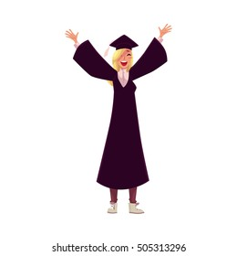 Happy female student in traditional cap and gown celebrating successful graduation, cartoon style illustration isolated on white background. Pretty girl in academic dress graduating from University