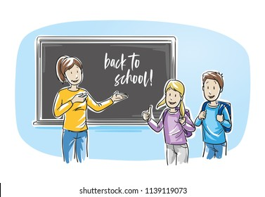 Happy female teacher, standing in front of school blackboard and welcoming the kids back to school. Hand drawn line art cartoon vector illustration.