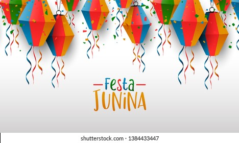 Happy Festa Junina greeting card illustration. Traditional brazil party decoration of colorful paper balloons and confetti.