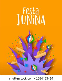 Happy Festa Junina holiday illustration. Colorful brazil carnival decoration in paper craft style with firework explosion.