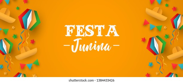 Happy Festa Junina holiday illustration. Colorful brazil festival decoration in paper craft style. Includes carnival balloon, hat and flags.