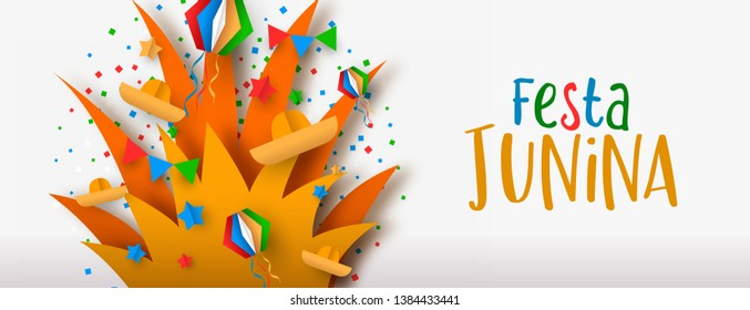 Happy Festa Junina web banner illustration. Colorful brazil carnival decoration in paper craft style with bonfire. - Shutterstock ID 1384433441