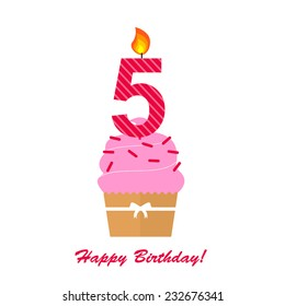 Happy Fifth Birthday Anniversary card with cupcake and candle  in flat design style, vector illustration
