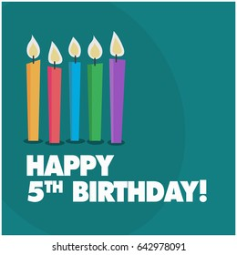 Happy Fifth Birthday With Five Candles Cute Design