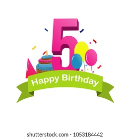 Happy fifth birthday. greeting happy birthday with cake, balloons, and confetti vector illustration