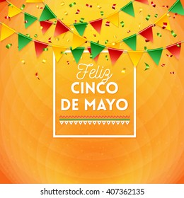 Happy Fifth May Mexican card or poster design with colorful flag bunting and framed text over an abstract vivid orange background with copy space