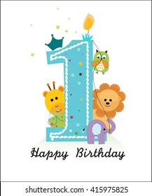 Happy first birthday with animals baby boy greeting card vector