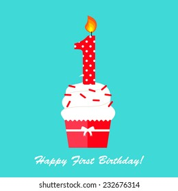 Happy First Birthday Anniversary card with cupcake and candle  in flat design style, vector illustration