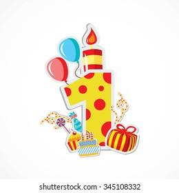 Happy first Birthday Anniversary - Illustration