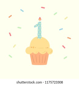 Happy First Birthday boy card with cupcake and candle in flat design style, vector illustration.