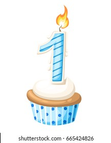 Happy First Birthday boy card with cupcake and candle in flat design style, vector illustration