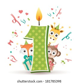 Happy First Birthday Candle and Animals Isolated on white