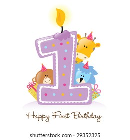 Happy First Birthday Candle And Animals Isolated Over White