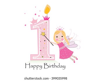 Happy first birthday candle. Baby girl greeting card with fairy tale vector background