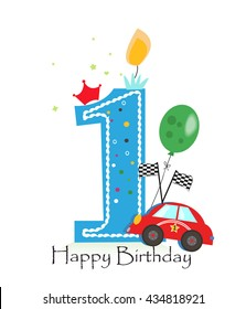 Happy First Birthday Candle Baby Boy Greeting Card With Race Car Vector Illustration