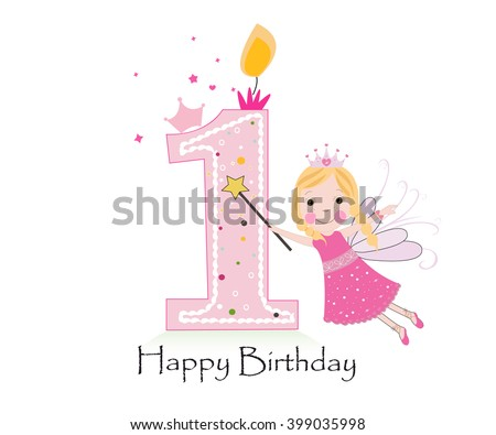 Happy First Birthday Candle Baby Girl Greeting Card With Fairy Tale Vector Background