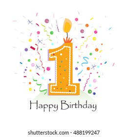 Happy first birthday candle vector with colorful confetti and balloons vector illustration background