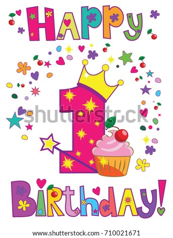 Happy First Birthday Card Stock Vector Royalty Free 710021671