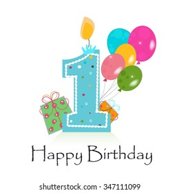 Happy first birthday card vector with box and balloons