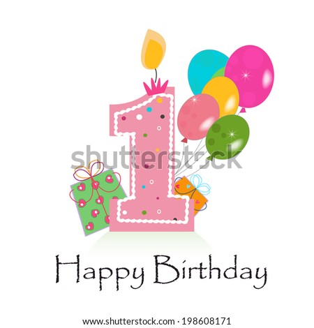 Happy First Birthday Card Vector Stock Vector Royalty Free