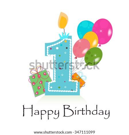 Happy First Birthday Card Vector Box Stock Vector Royalty Free