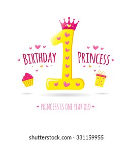 Happy First Birthday Greeting Card For Your Princess Vector