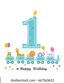 Happy first birthday greeting card. Birthday train with animals