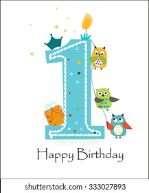 Birthday boy images stock photos vectors shutterstock happy first birthday with owls baby boy greeting card vector m4hsunfo