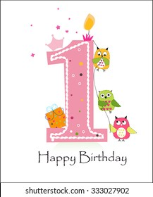 Happy first birthday with owls baby girl greeting card vector