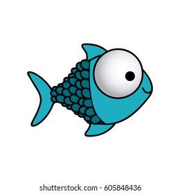 happy fish scales cartoon icon, vector illustration design