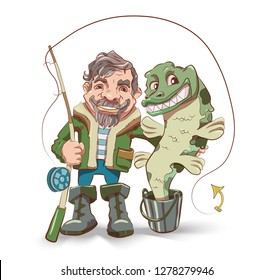 Happy fisherman cartoon character in vector. Fishmen holding fishing rod with caught fish. Illustration on white background. Big Pike in a bucket.