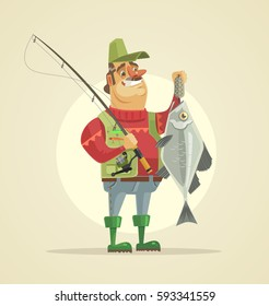 Happy fisherman character hold big fish. Vector flat cartoon illustration